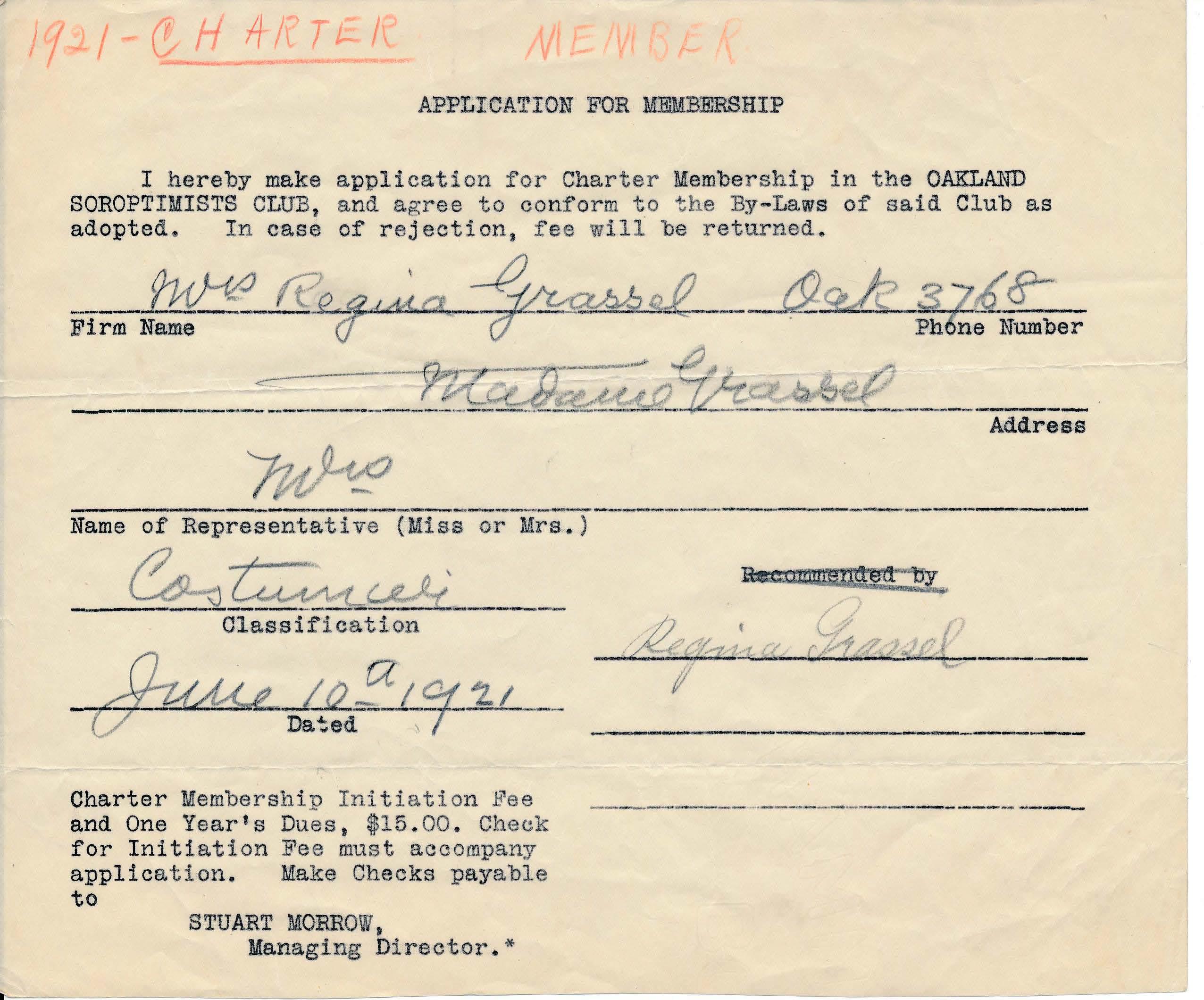#ThisDayInSIA July 11, 1921 Regina Grassel applicaiton